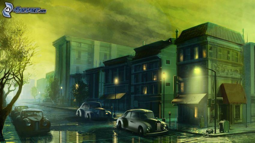 ciudad de noche, calle iluminada, coches, dibujo