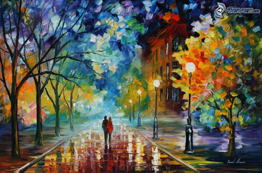 Ciudad de stock, calle iluminada, pintura al óleo