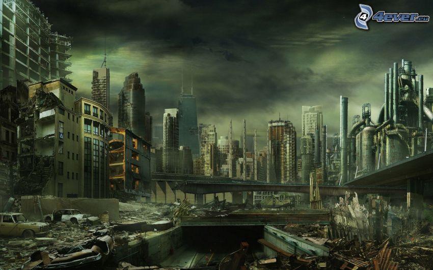 ciudad en ruinas, ciudad post-apocalíptica