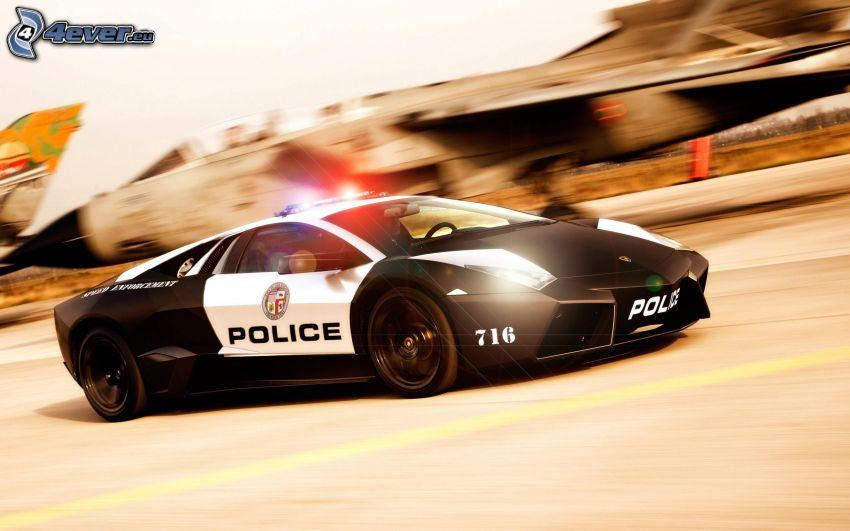 coche de policía, Lamborghini, acelerar