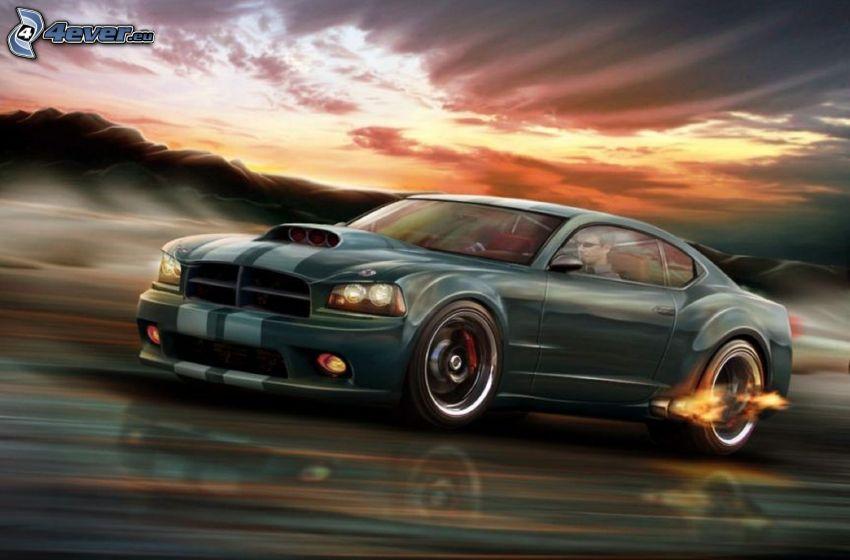 coche deportivo, acelerar, llama, después de la puesta del sol, dibujos animados de coche