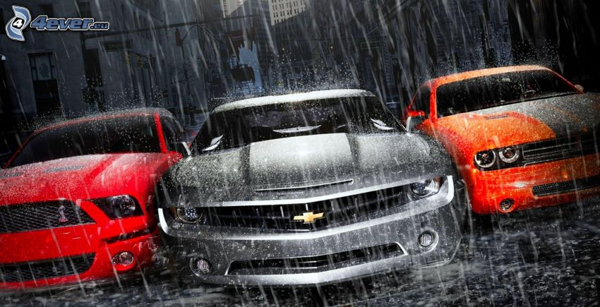 coches, Ford Mustang Shelby, Chevrolet Camaro, Dodge, lluvia