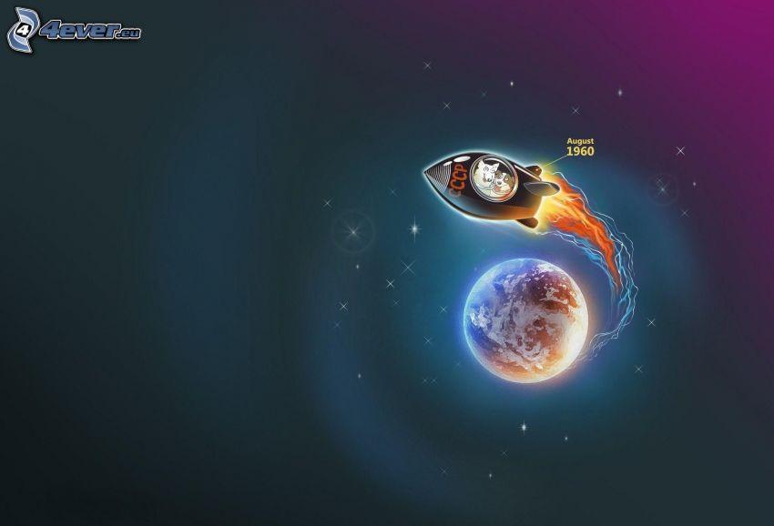 cohete, llama, Planeta Tierra