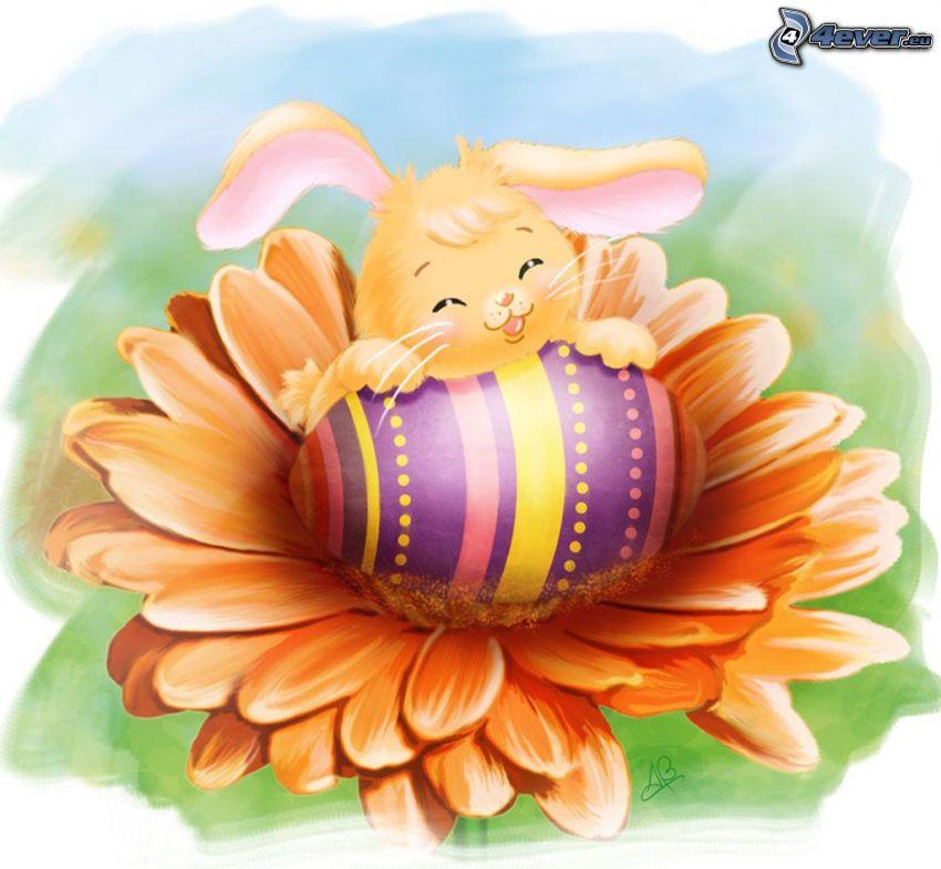 conejito de Pascua, huevos pintados, gerbera