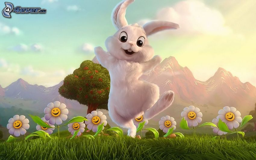 conejo de dibujos animados, flores