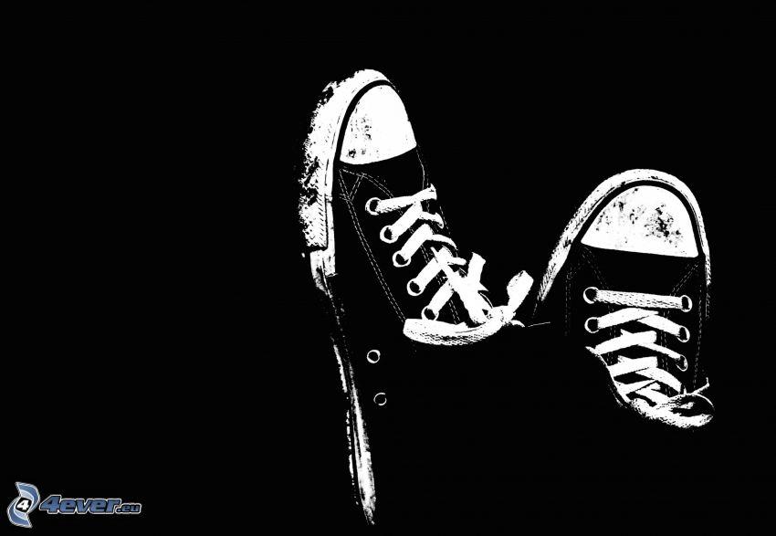 Converse, zapatos deportivos, blanco y negro