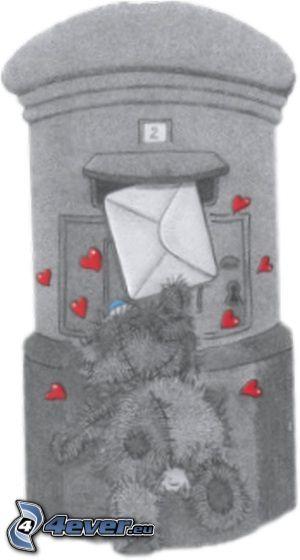 correo, oso de peluche, caja