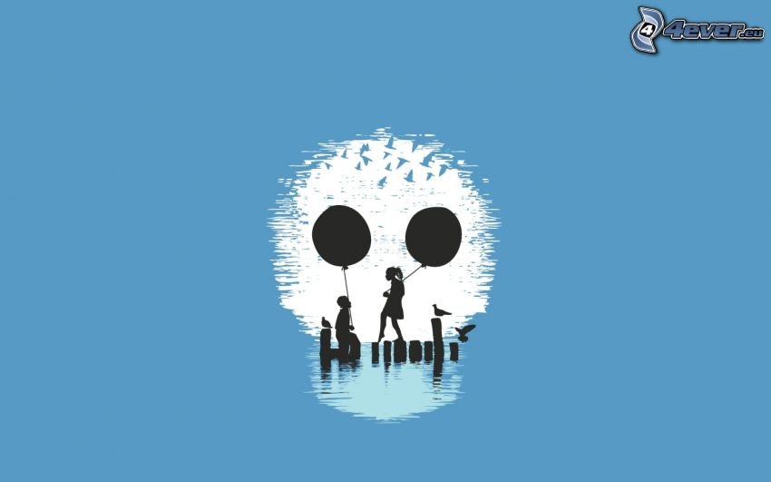 cráneo, dibujos animados de pareja, globos