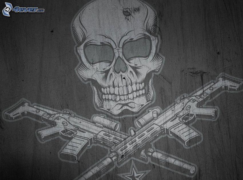 cráneo, metralleta