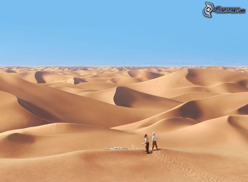 desierto, dunas de arena, hombres, esqueleto, perro blanco