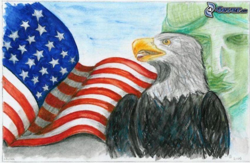 águila, Bandera de EE.UU.