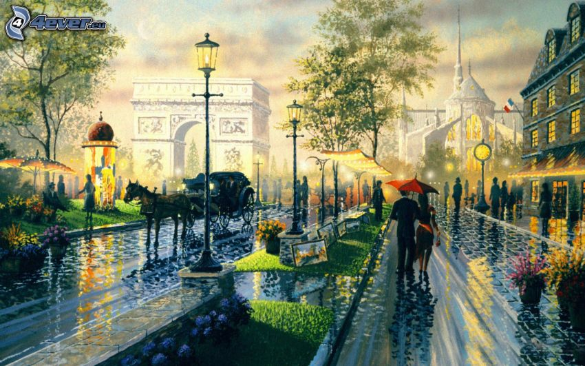 calle, personas, coche de caballos, Arco de Triunfo, lluvia, pintura