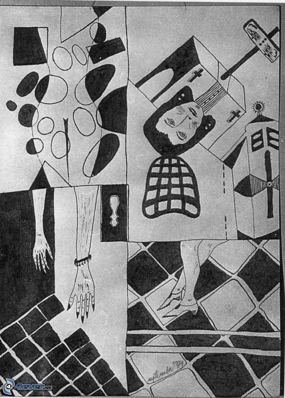 collage, silueta de mujer, hombre, cruces, manos, pies