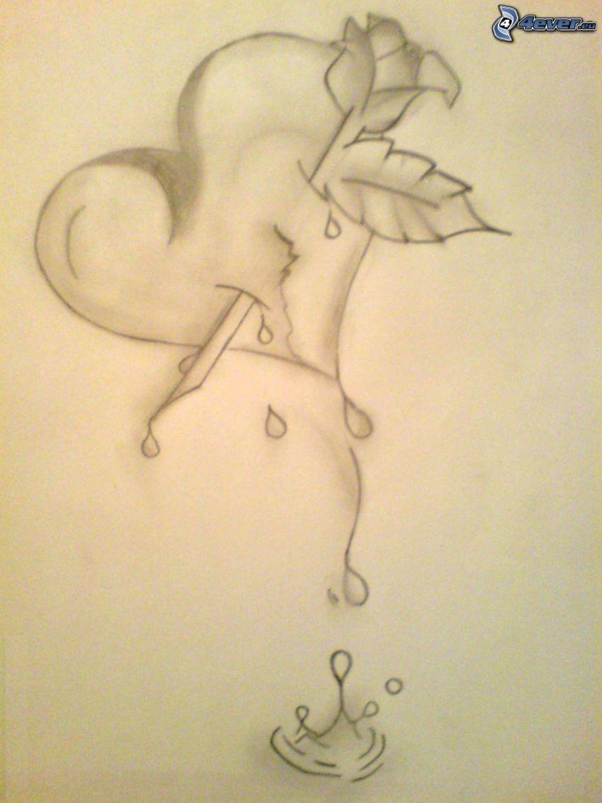 corazón traspasado, dibujos animados de un corazón, rosa pintada, sangre, gota