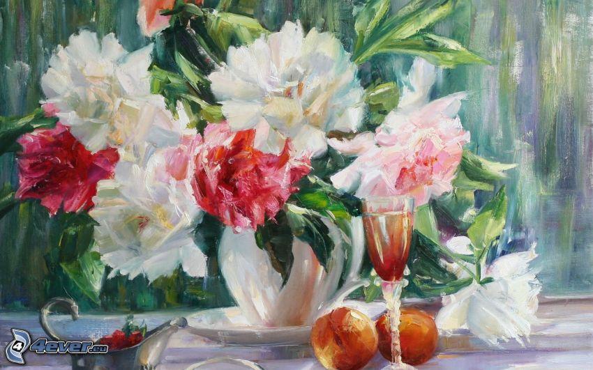 dibujo, flores en un florero
