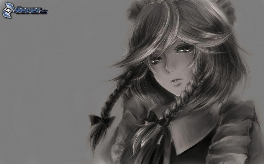 dibujos animados de chica, chica triste