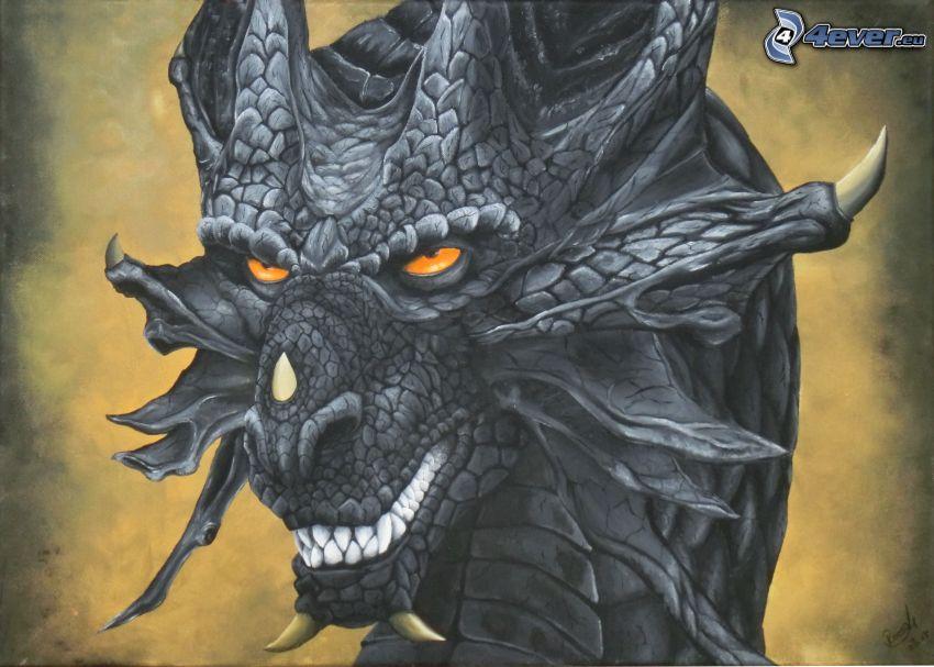 dragón, dientes, monstruo