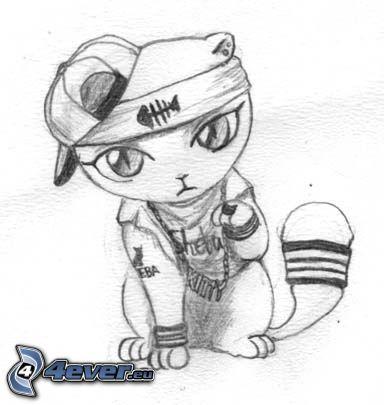 gato de la historieta, hip hop, cadena