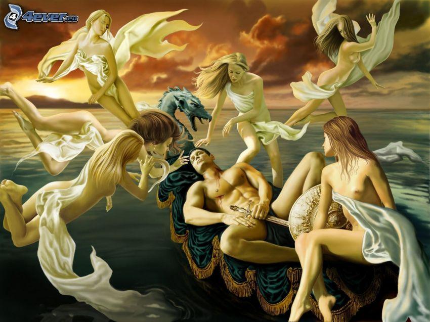 hombre, mujeres, dragón