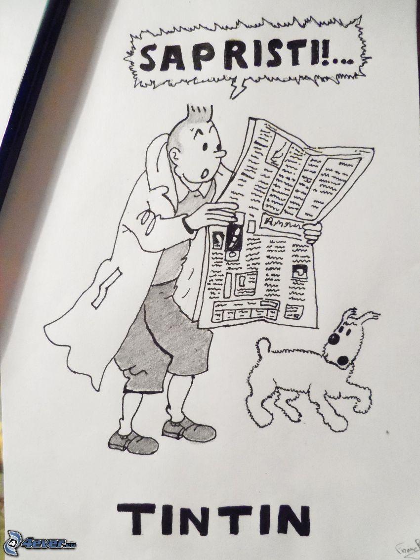hombre, perro, periódico, text