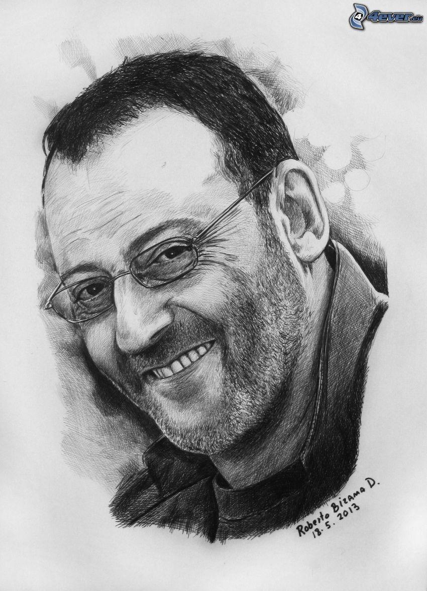 Jean Reno, sonrisa, el hombre con las gafas