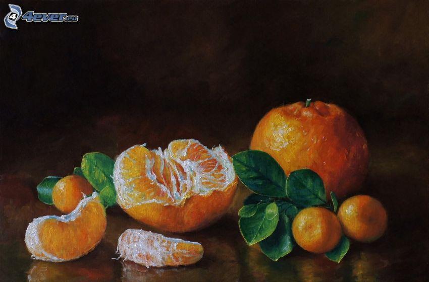 mandarín, pintura