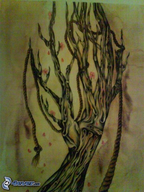mano de dibujos animados, árbol, dibujos animados