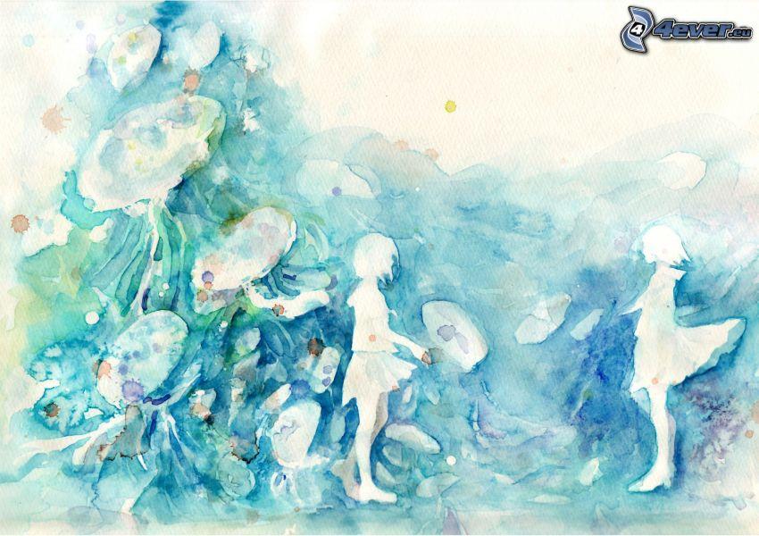 muchachas de, historieta, manchas, color azul