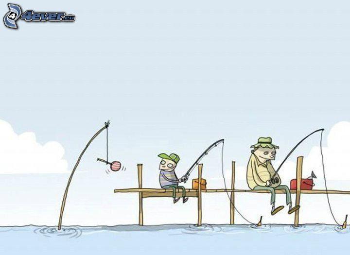 pescadores, personajes de dibujos animados, chupachups