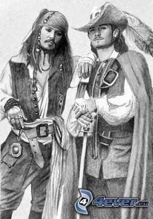Piratas, Jack Sparrow, Will Turner, Johnny Depp, Orlando Bloom