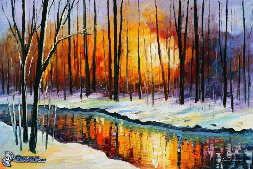 puesta del sol en el bosque, río, nieve, pintura al óleo