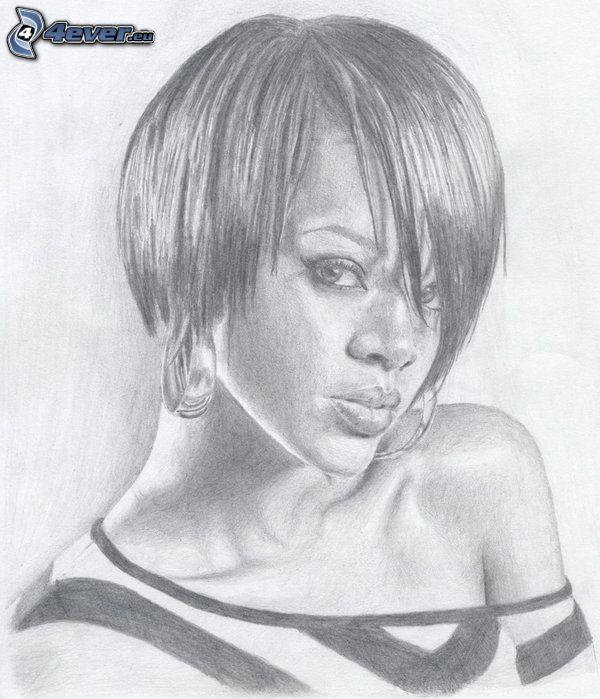 Rihanna, dibujo, arte