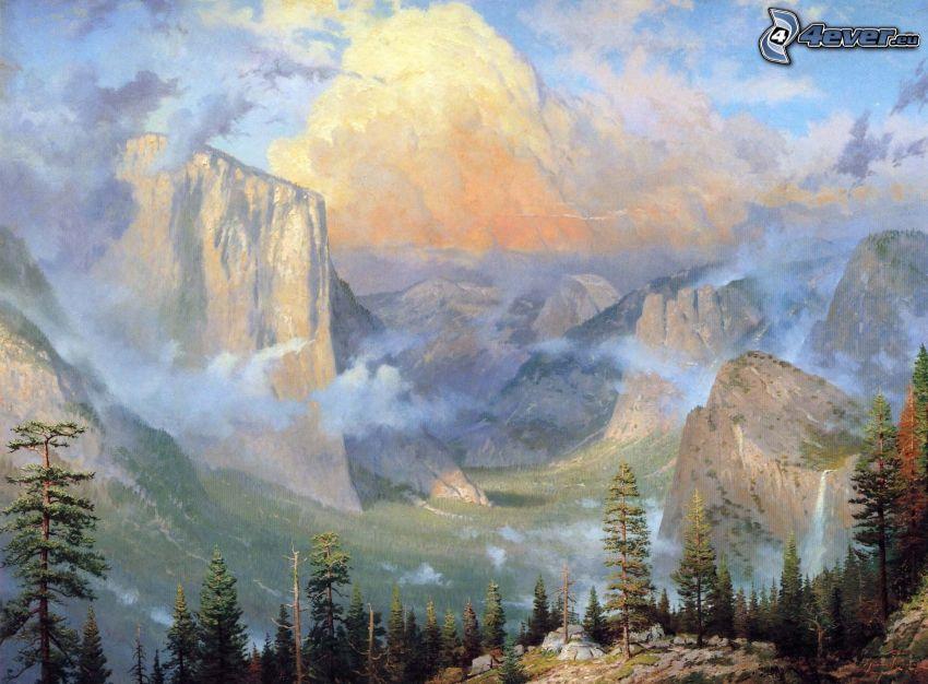 Valle de Yosemita, montaña rocosa, árboles coníferos