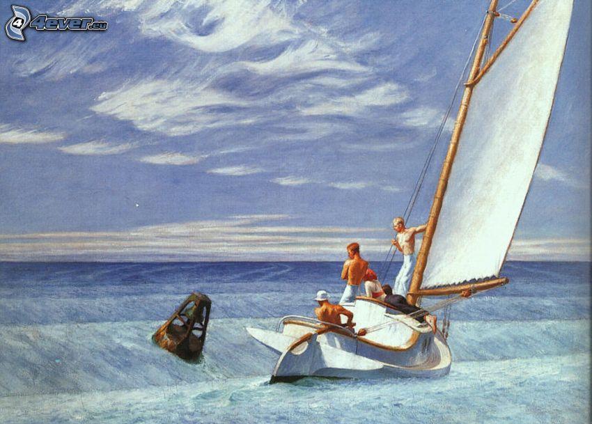 velero, hombres, mar