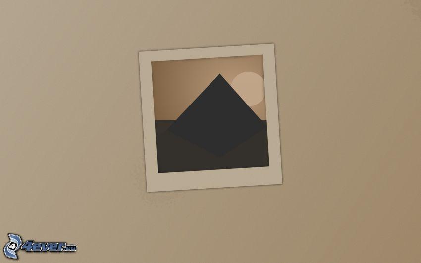 dibujo, pirámide, sol