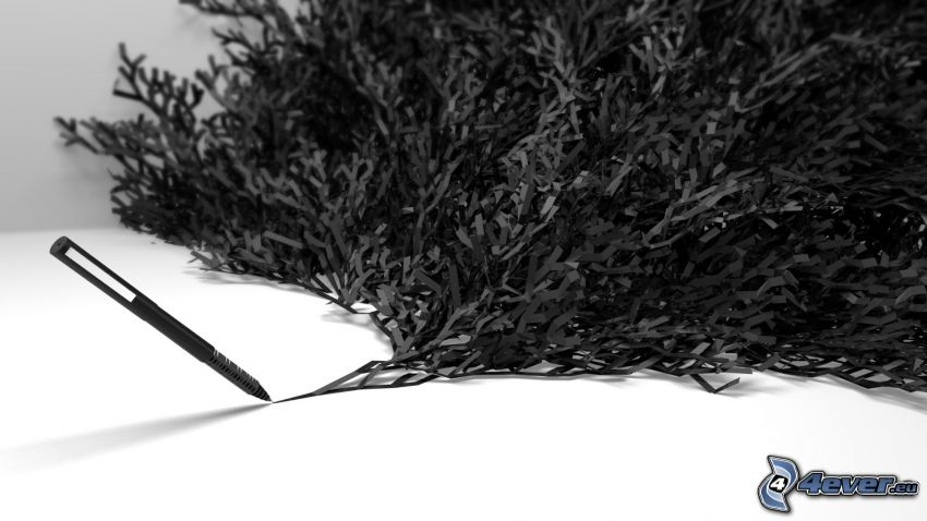 dibujo, pluma, árbol