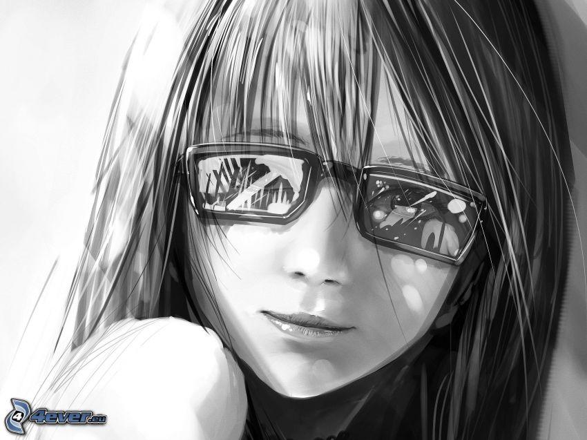 dibujos animados de chica, chica con gafas, blanco y negro