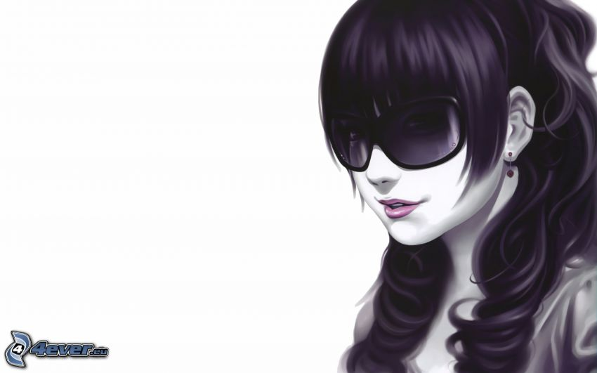 dibujos animados de chica, chica con gafas, pelo morado