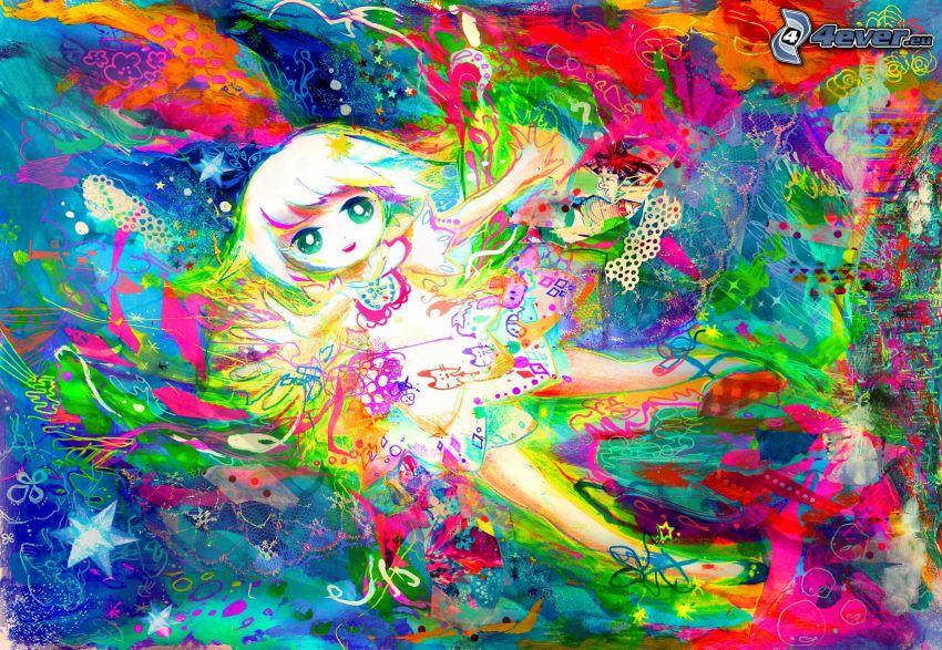 dibujos animados de chica, colores