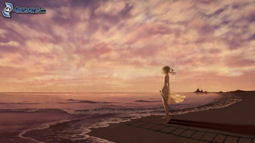 dibujos animados de chica, mar, playa de arena, después de la puesta del sol, nubes