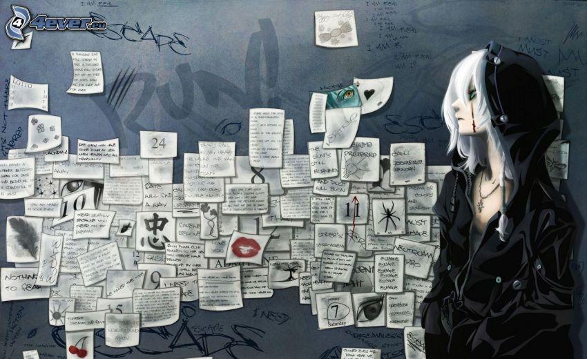 dibujos animados de chica, mensaje, pedacito de papel