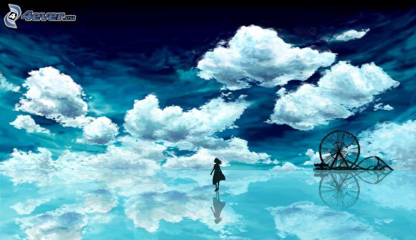 dibujos animados de chica, nubes, cielo