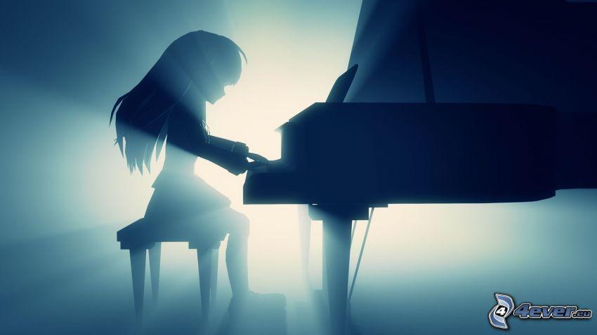 dibujos animados de chica, silueta de niña, tocar el piano