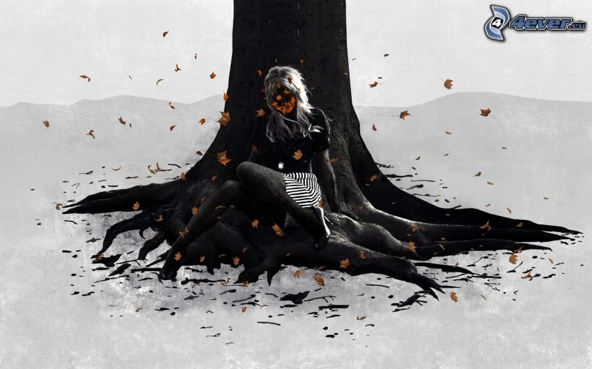 dibujos animados de chica, tribu, árbol