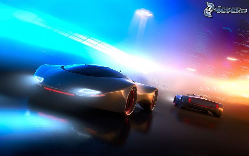 dibujos animados de coche, concepto