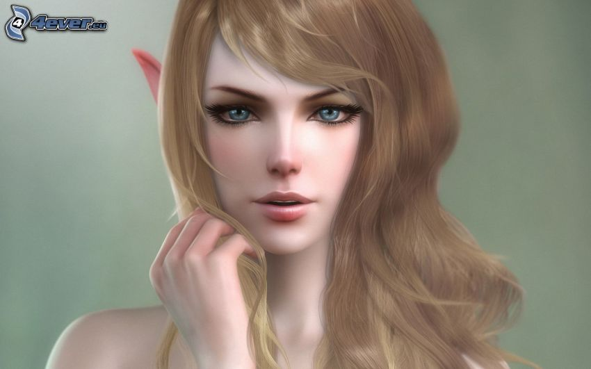 dibujos animados de mujer elfo