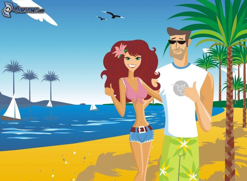 dibujos animados de pareja, playa de arena