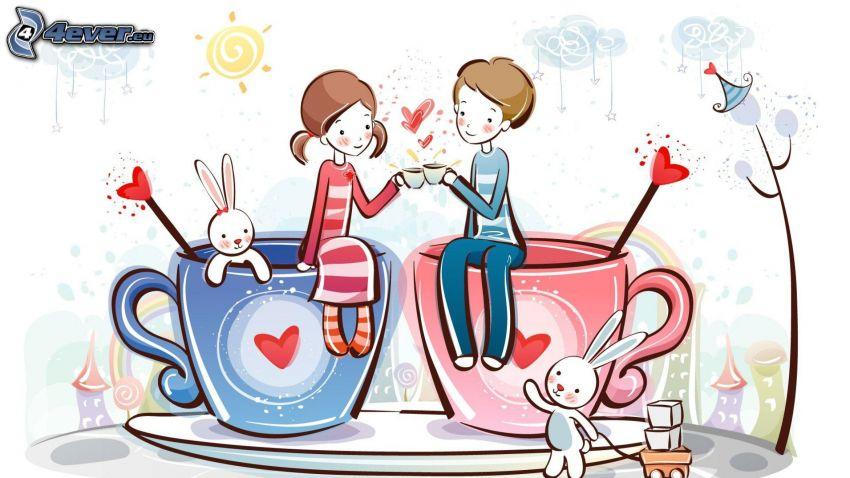 dibujos animados de pareja, tazas, conejos, corazones
