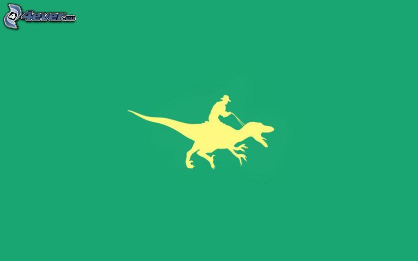 dinosaurio, jinete, siluetas, fondo verde