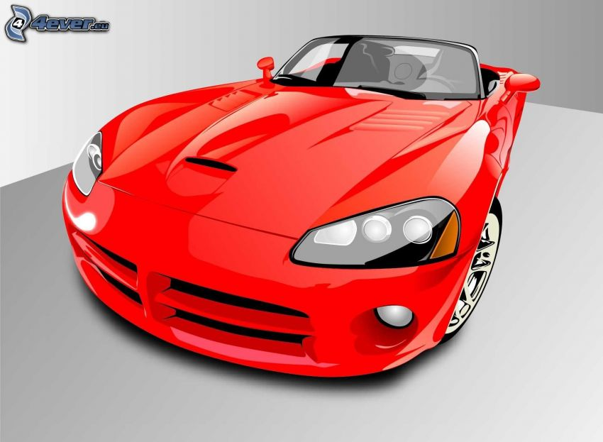Dodge Viper, dibujos animados de coche, descapotable